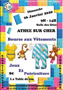 Bourse aux vêtements / Jeux / Puériculture Dimanche 26 janvier 2020
